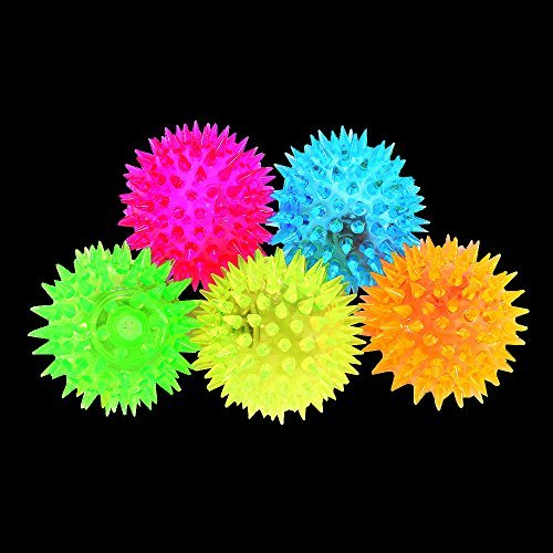 Acekid Colors Elastic LED Flash Light up Spike Ball with Cosmos Fastening Strap for Fun/Games Pack of 5