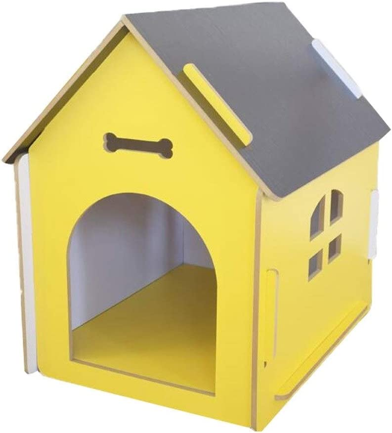 DYYD Wood Pet House-Pet House Puppy House Wooden Little Dog House Pet Home Indoor/Outdoor Wood Cat House Wooden Pet House with Steel Wire Door Pink (Size : XL)