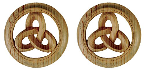 Celtic Knotwork Medallion. Hand Carved in Pinewood. Matched Pair