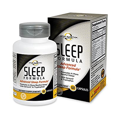 Optim Nutrition Advanced Sleep Formula | Natural Sleep Aid | Clinically Tested Sensoril | Melatonin, Chamomile, Valerian, Theanine, GABA, Tryptophan (60 capsules)