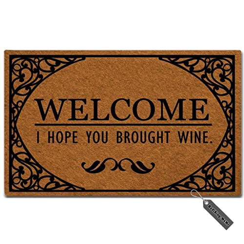 MsMr Doormat Funny Entrance Floor Mat Welcome I Hope You Brought Wine Indoor Decorative Doormat Floor Mat Non-Woven Fabric Top ()
