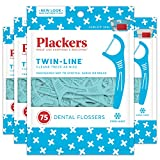 lines Plackers Twin-Line Dental Floss Picks, 75 count (Pack of 4)