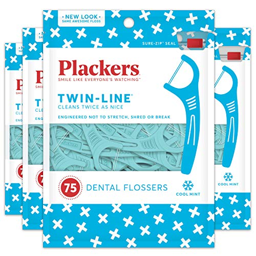 Plackers Twin-Line Dental Floss Picks, 75 count (Pack of - Be Dual Oral Clean