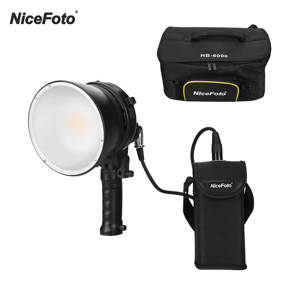 TOPTOO NiceFoto HB-600B Handheld LED Video Light 5500K 60W APP Remote Control Photography Fill-in Lamp Dimmable Brightness with Rechargeable Li-ion Battery Power Adapter Carry Bag by TOPTOO