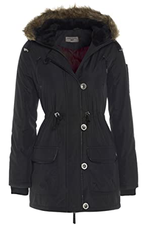Parka Womens Hood Black Coat Sizes 8 - 16: Amazon.co.uk: Clothing