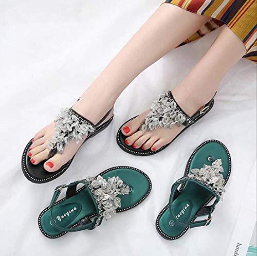 Verde Mujer Punta 36 Hebilla 34 remache De Cómodas Vacaciones zapatos Verde color Tamaño Cinturón Planas Clip Con Sandalias Para Europeo Casuales 40 Playa Zapatos Zhrui nq8S4x