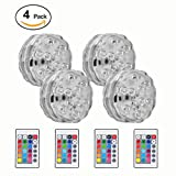 Submersible LED Lights, Updated Version Underwater Accent Lights for Aquarium Fountain Vase Pond Swimming Pool Garden Hot Tub, Remote Control Waterproof RGB Multi Color Changing(4 Pack)