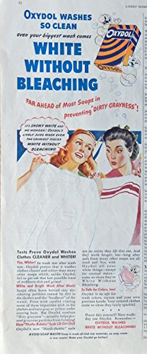 Oxydol Soap. Rare 40's print ad. Color Illustration. (two women by clothes line) original 1946 Ladies Home Journal magazine art