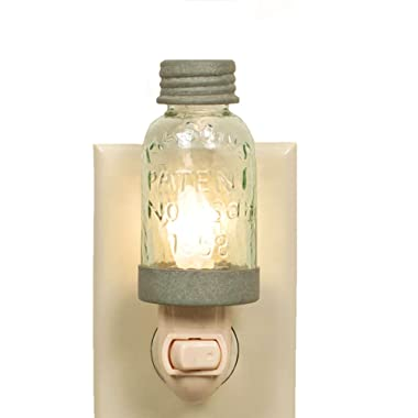 Country Rustic Mini Mason Jar Night Light in Barn Roof Color
