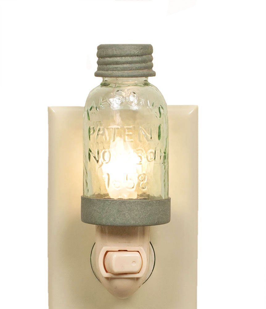Country Rustic Mini Mason Jar Night Light in Barn Roof Color by Colonial Tin Works
