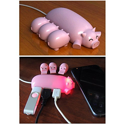 Naughtygifts Cute Mom Pig USB Hub with 3 piglet decoration lids, Toooo cute, Best Gift Choice, Random Color