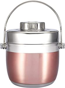 1.2L Japanese Thermal Lunch Box With Handle Portable Stainless Steel Insulated Soup Pot Bento Box Fruits Food Container Storage for Kids Picnic Camping(Rose Golden)