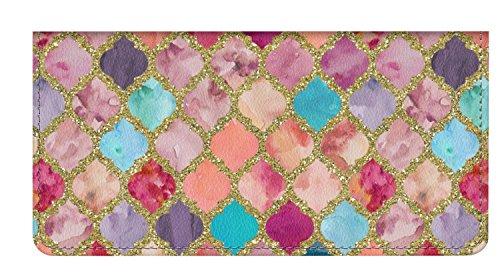 (Glitter Moroccan Watercolor Genuine Leather Checkbook Cover (Personalized))