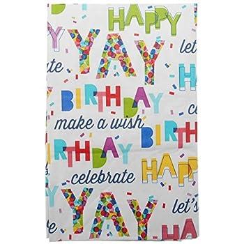 Amazon Com 70 Quot Round Happy Birthday Tablecloth White
