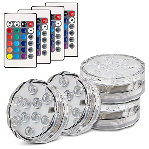 Topist Submersible LED Light, 10-LED RGB Waterproof Battery Powered Lights with IR Remote Controller for Aquarium, Vase Base, Pond, Swimming Pool, Garden, Party, Wedding, Christmas, Halloween,4 -