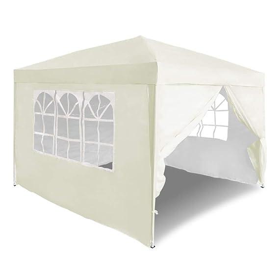 Carpa plegable 3 x 3m con 4 paredes laterales color Beige y protección UV, ideal para eventos, fiestas.