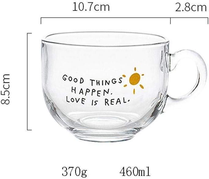 JLWM Cuenco para Sopa con Asa De Cristal Vaso 460ML Cuencos para Sopa Jarra Taza Microonda Estilo Japon/és Taz/ón para Leche Yogur Caf/é Desayuno-Transparente