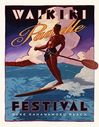 Hawaii Sup Surfing Stand Up Paddling Art Poster Duke Kahanamoku Surf surfboard