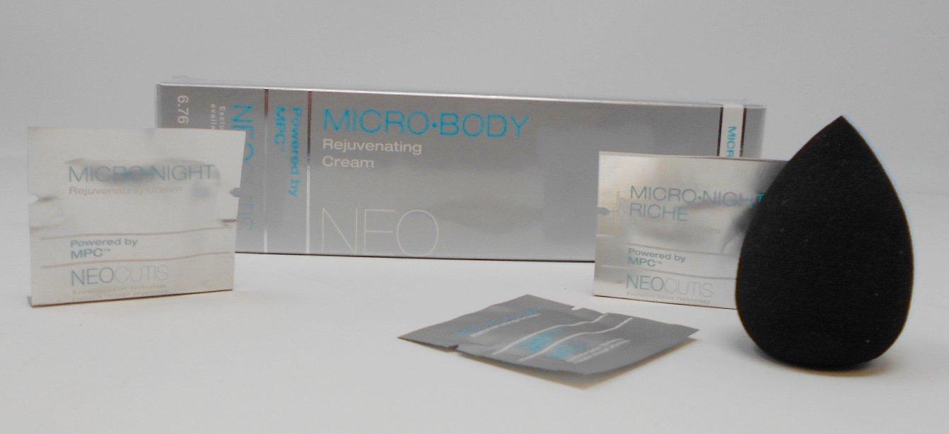 Neocutis Micro Body Rejuvenating Cream, 6.76 fl oz / 200 ml Plus Free Cosmetic Blender Sponge and 3 Mixed Samples.