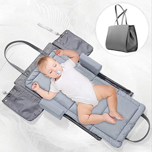 Forstart 3 in 1 Portable Baby Travel Crib,Universal Infant Travel Tote Stylish Mom Bag Handcart Saddlebag Foldable Baby Bed Diaper Bag Portable Changing Station,Gray by Forstart