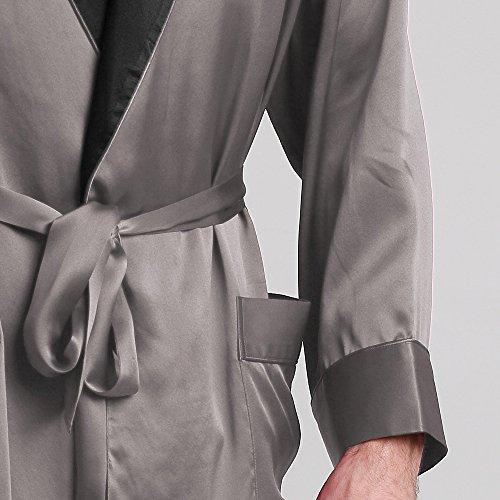 Scuro Di Pura Lilysilk Collare Uomo Con Grigio Da Momme Vestaglia Seta 22 Nero ROqxZq