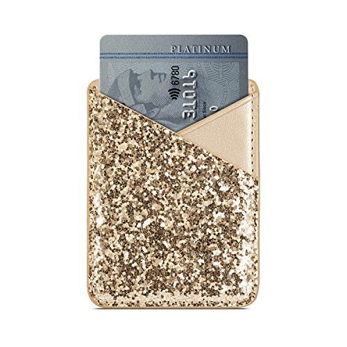 Phone Card Holder Adhesive Stick-on Credit Card Pu Leather Wallet Card Holder Back Phone case Pouch Sleeve Pocket Most Smartphones iPhone/Android /Samsung Galaxy(Rose-Gold-Blue) by Aroko (Image #4)