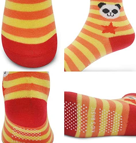 12 Pairs Kids Non Slip Skid Socks Grips Sticky Slippery Cotton Crew Socks For 1-3/3-5/5-7 Years Old Children Youth Boy Girl