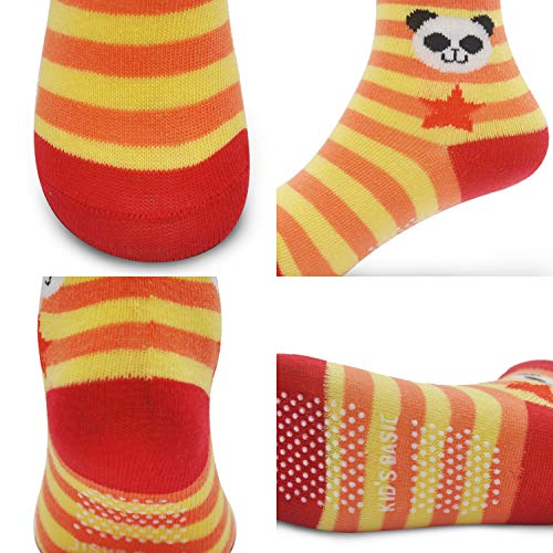 12 Pairs Kids Non Slip Skid Socks Grips Sticky Slippery Cotton Crew Socks For 1-3/3-5/5-7 Years Old Children Youth Boy Girl, Cartoon Style(12 Pairs), 3-5T