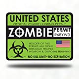 Zombie Hunter Permit Bumper window Sticker Decal - zombie games survival kit living dead hunting guns