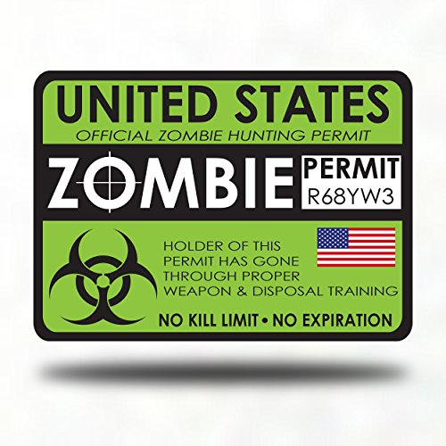 Zombie Hunter Permit Bumper window Sticker Decal - zombie games survival kit living dead hunting guns