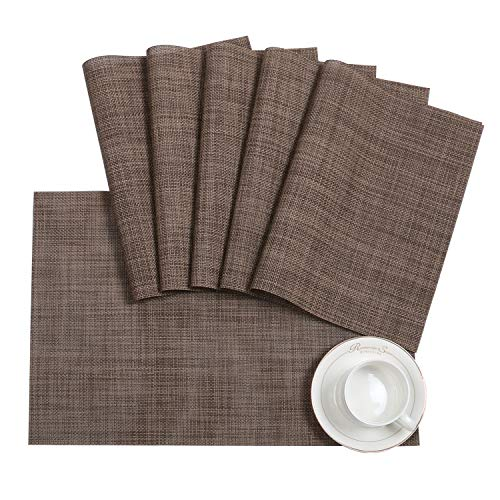 (Pauwer Placemats Set of 6 for Dining Table Washable Woven Vinyl Placemat Non-Slip Heat Resistant Kitchen Table Mats Easy to Clean)