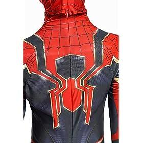 - 51rmYcIZzaL - Newhui Teens Kids Halloween Spider Red Zentai Costume Bodysuit Cosplay Mask