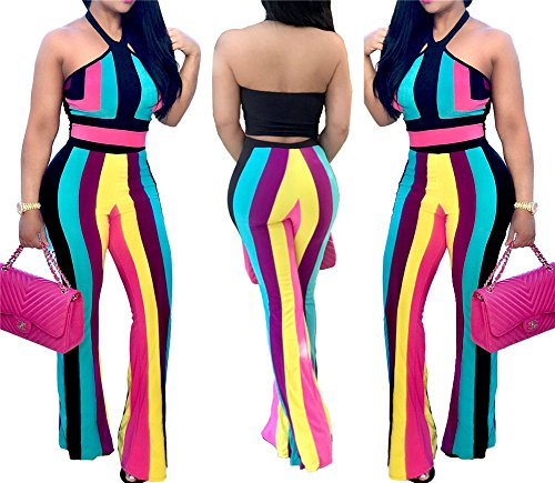 Cheap Sexy Outfits (Women's Girls Sexy Two Pieces Outfits Halter Backless Rainbow Stripe Tunic Top Shirt + Pant Romper Jumpsuit Long Party Club Dress L)