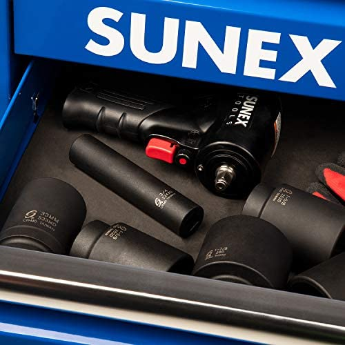 Sunex 224XD, 1/2 Inch Drive, 3/4 Inch Extra Long Deep, Impact Socket, Cr-Mo Alloy Steel, Radius Corner Design, Dual Size Markings