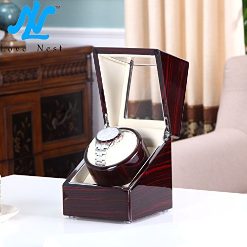 Love Nest Single Watch Winder Piano Finish Pure Handmade with Japanese Mabuchi Motor(Power Included) by LN LOVE NEST (Image #1)