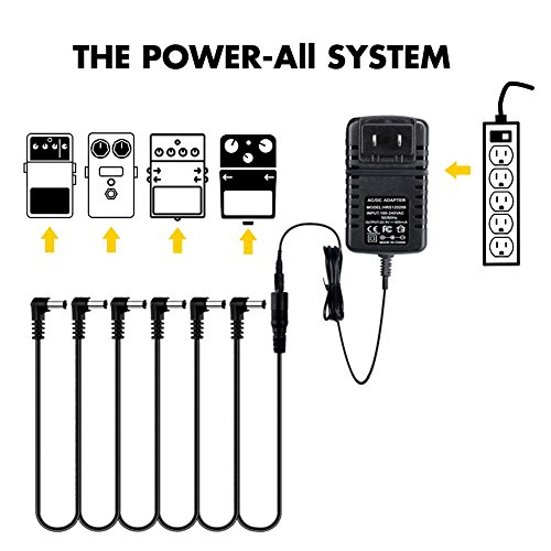 regis guitar effects pedal power supply adapter with 6 way daisy chain cable 9v dc 500ma. Black Bedroom Furniture Sets. Home Design Ideas