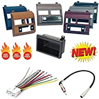 1988-1996 Chevrolet & GMC Complete Single Din Dash Kit + Pocket Kit + Wire Harness + Antenna Adapter. Available in factory colors, Black, Gray, Blue, Beige, Brown and Red