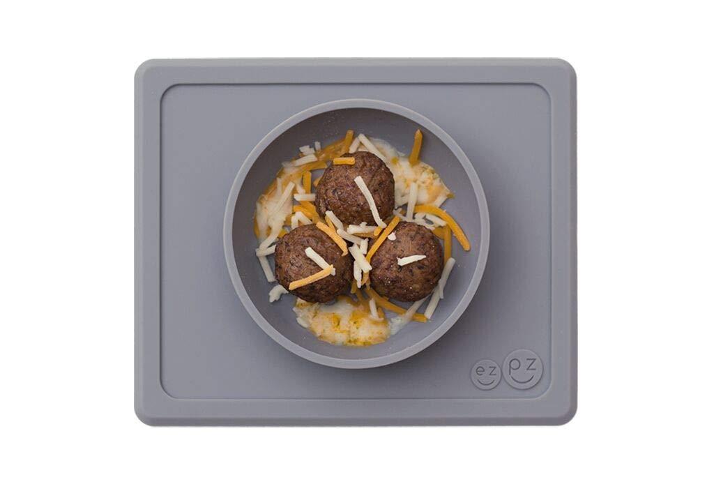 ezpz Mini Bowl - One-Piece Silicone placemat + Bowl (Gray)