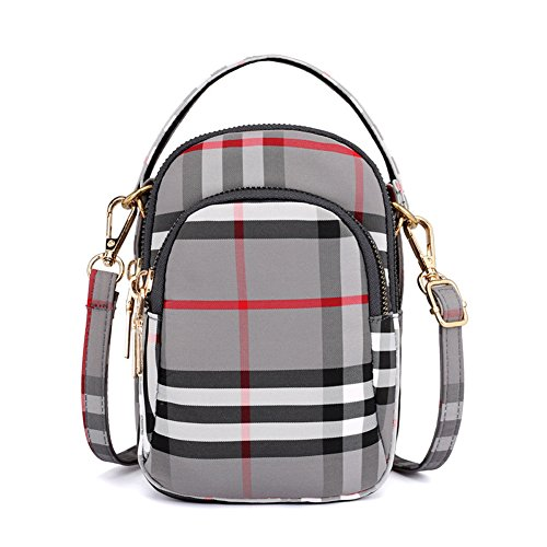 (Toniker Nylon Plaid Multi-Pockets Small Crossbody Bags Cell Phone Purse Smartphone Wallet for Women Girls with Handy Carry)