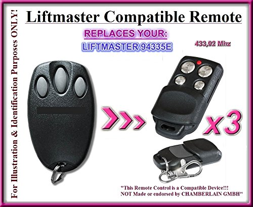 3 X Liftmaster 94335E Replacement Remote Control compatible remote control replacement transmitter, 433.92Mhz rolling code. 3 Top quality replacement remotes for THE BEST PRICE!!!