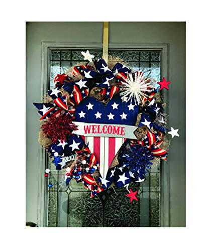 LAST CHANCE TO BUY: America Pride and Inspiration - Patriotic Welcome Stars and Stripes Heart Wreath - Door Decor