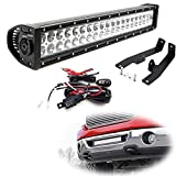 iJDMTOY Lower Grille 20-Inch LED Light Bar Kit For 2006-2008 Ford F-150, Includes (1) 120W High Power LED Lightbar, Lower Bumper Opening Mounting Brackets & On/Off Switch Wiring Kit