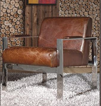 Echtleder Vintage Edelstahl Sessel Ledersessel Braun Design Lounge ...