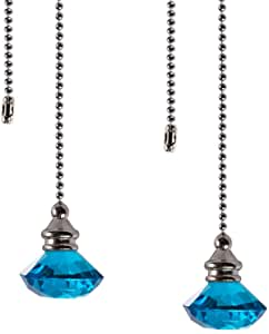 Ceiling Fan Pull Chain Set - 2 Pieces Light Blue Diamond Fan Pull Chains 20 Inch Ceiling Fan Chain Extender with Chain Connector Home Wedding Decor Ornament Pendant