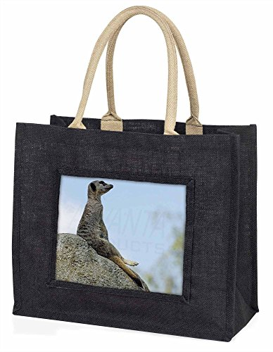 Advanta–Große Einkaufstasche Erdmännchen Große Einkaufstasche Weihnachtsgeschenk Idee, Jute, schwarz, 42x 34,5x 2cm
