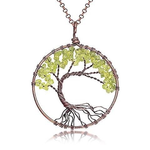 Uniki Tree of Life Pendant Amethyst Rose Crystal Necklace Gemstone Chakra Jewelry Christmas Gifts - Life Pendant Wire