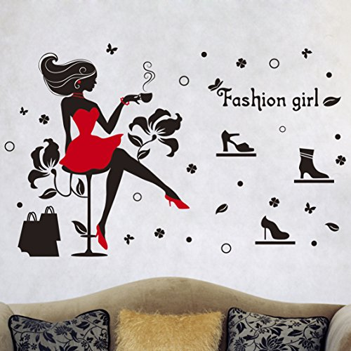 WDA Fashion Girl Wall Sticker Elegant Shopping Various High Heels PVC Romovable Wall Decals Home Decals Marriage Decor
