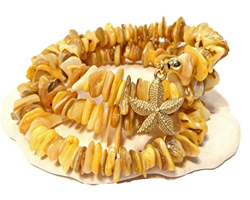 Mother Of Pearl Dyed Chip - Yellow Dyed Coral Chip and Mother of Pearl Wrap Around Bracelet with Tibetan Goldtone Starfish Charm
