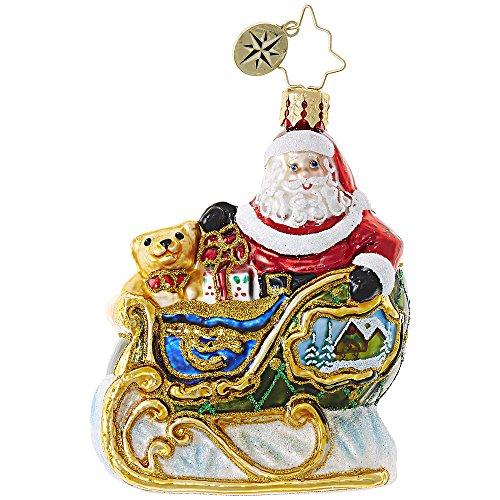 Little Gem Santa Claus Village Sleigh Ride 3 Inch Handblown Glass Christmas Ornament