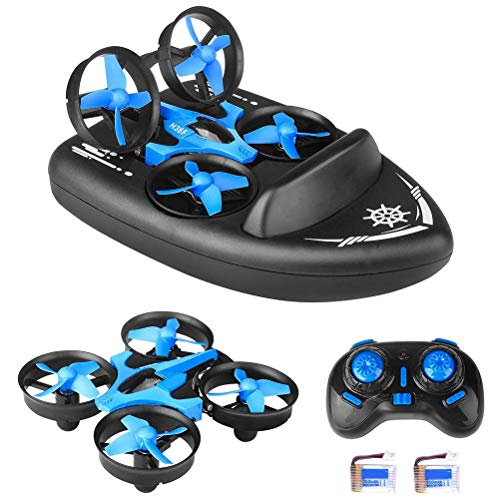 2.4G Quadcopter, 3 in 1 Mini JJRC H36F RC Drone Remote Control Car/Boat/Quadcopter Mode with 360° Flips Stunt Headless…
